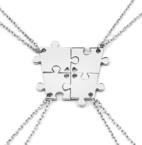 Puzzle pendant alloy necklace set for best friends or family(4PCS)