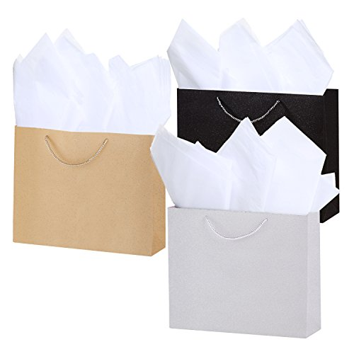 15 X 12 inch Medium Modern Angled Glitter Gift Bags with Tissue Paper, Set of 3, Assorted Colors