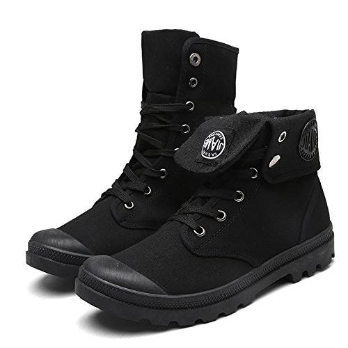 Odema Hombres Canvas Zapatos Hightop Sneakers Flat Botines Lace Up Zapatos Negro
