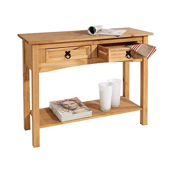 IDIMEX Table Console Salsa Table d'appoint en Bois Style Mexicain avec 2 tiroirs, en pin Massif Finition teintée/cirée