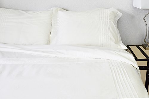 Hotel Collection Chester 100% Egyptian Cotton Percale Duvet Cover Set Of 3,Queen Size, Off-White By Cambay Linens (Queen Size White Duvet Cover)