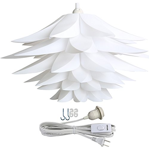 Lightingsky Ceiling Pendant DIY IQ Jigsaw Puzzle Lotus Flower Lamp Shade Kit with 15 Feet Hanging Cord (White) - Flower Pendant Cord