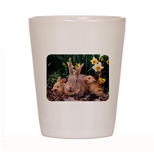 Shot Glass White of Spring Easter Bunny Rabbits