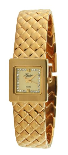 Swiss Edition Women's Luxury All 23K Gold Plated Small Square Weave Bracelet Crystal Dial Watch SE3817 ()