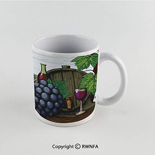 11oz Unique Present Mother Day Personalized Gifts Coffee Mug Tea Cup White Wine,Landscape with Views of Vineyards Grapes Leaves Drink Barrel Agriculture Field Farm Decorative,Multicolor Funny Ceramic (Ct Co Southern Wine)