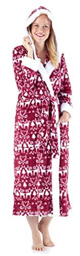 Frankie & Johnny Women's Sleepwear Fleece Sherpa-Lined Hooded Robe, Cranberry Winter -