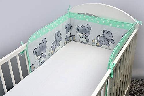 Parure de lit 3 pi/èces pour b/éb/é avec tour de lit 140 x 70 cm