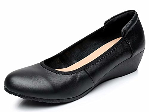 Women's Genuine Leather Comfort Low-Heeled Wedge Pump US Size 7.5 Black-1 by Sketo