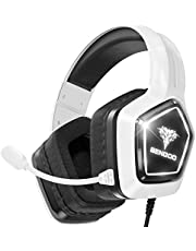 $23 » BENGOO G9700 Gaming Headset Headphones for PS4 PS5 Xbox One PC Controller, Noise Canceling Over Ear Headphones with Mic, White LED Light, Bass Surround Sound, Earmuffs for Nintendo 64 Gameboy Advance