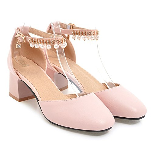 Coolcept Women Fashion Block Heel Sandals Closed Toe Pink-46 WhaAx9Teo