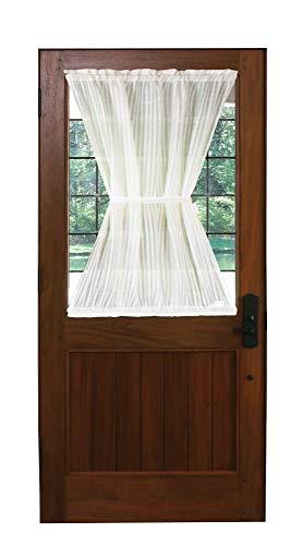 Bay Breeze Semi Sheer Stripe Door Curtain Panel (Antique, 36
