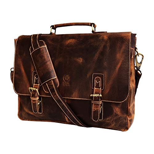 (16 inch Genuine Leather Briefcase Bag - Crossbody Laptop Satchel by Rustic Town)