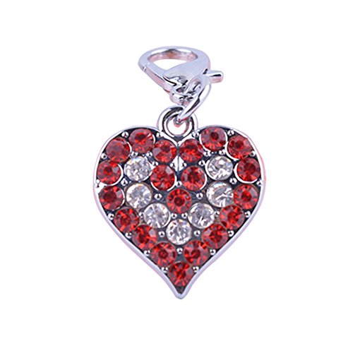 Braceus Heart Shaped Cat Dog Collars Rhinestone Jewelry Pendant Charm Pet Tag Dog Accessory (Red)