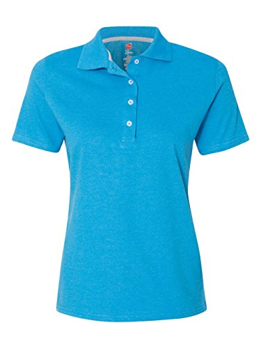 Hanes Women's X-Temp Performance Polo, Neon Blue Heather, M Blue Branded Polo