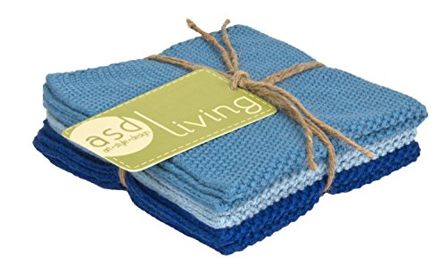 ASD Living 4C-406 Absorbent Cotton (Set of 3) Set of Dishcloths, Sky Blue, 10 x 10 ()