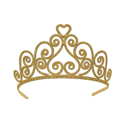 Bargain World Heart Gold Glittered Tiara (with Sticky Notes)