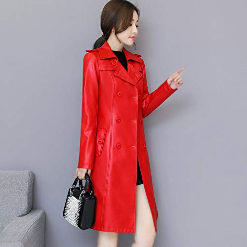 Women Breasted Ladies 5Xl Autumn Plus XCXKA red Long 4Xl Coat Motorcycle Coat Double Size Windbreaker qz7UtwR