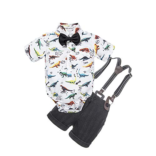 BIG ELEPHANT Baby Boys' 2 Piece T-Shirt Suspender Shorts Clothing Set (18-24 Months, Dinosaur D)