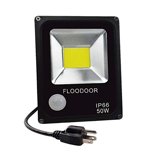 (FLOODOOR Motion Sensor 50W LED Flood Light IP66 Waterproof 110V Safety Spotlight Daylight White 6000K 4500LM for Backyard Garage Street Guardrail)