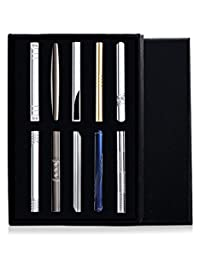 Subiceto 10 Pcs Tie Clips Bar Pinch Clip for Men Wedding Business Tie Bar Clip with Box