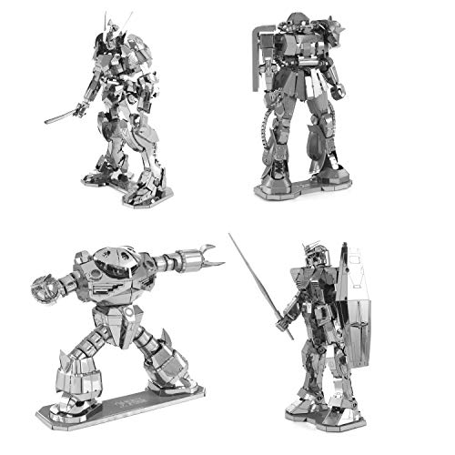 Fascinations ICONX 3D Metal Model Kits Set of 4 - RX-78-2 Gundam - MSM-07 Z'Gok - MS-06 Zaku II - Gundam Barbatos