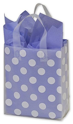 Dot Pattern Shopping Bags   White Dots Clear Frosted Flex Loop Shoppers  8 X 4 X 10   100 Bags    Bows 268 080410 Dotc