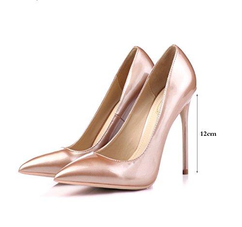 Français Dames Chaussures OL Rose Bare Femmes Beaux Shallow Haut Printemps Chaussures Cm Talons Or Mouth De 12CM Chaussures Pointu Talons 12 Mariage F5adqa