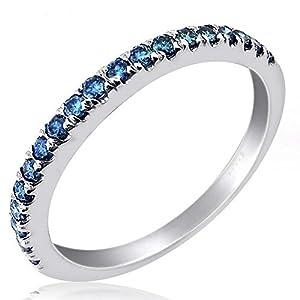 0.32 Carat Fancy Blue Diamond Wedding Anniversary Band Ring 10k White Gold