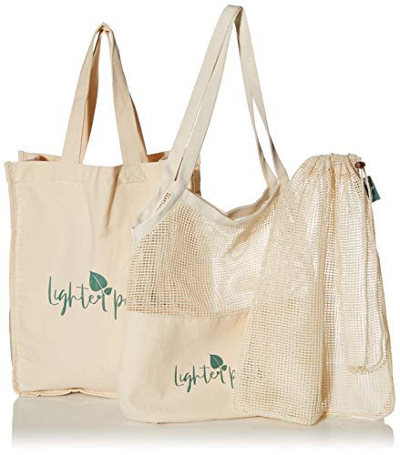 Earth Friendly Reusable Shopping Bags | 8 PC Set | Machine Washable | 100% Organic Cotton Grocery Bags Includes Sturdy Canvas Tote, 2 Shoulder Bags, 3 Mesh Produce Bags, 2 Bulk Bags