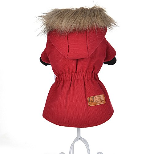 Cat Pet Small Dog Doggy Clothing Winter Warm Padded Thickening Vest Coat Dog Costumes Pet Fur Collar Clothes Sweater Dog Shirt Apparel Doggy Vest Puppy Sweatshirt Outfits Doggy Dress (Red, L) by succeedtop (Image #1)