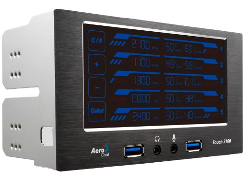 Aerocool Fan and Temperature Controller with USB 3.0 and Audio/Mic Ports (Touch2100)
