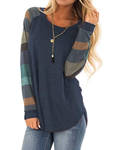 Halife Women's Casual Round Neck Geometric Basic T-Shirts Swing Long Sleeve Tunic Tops Plus Size Navy Blue XXL