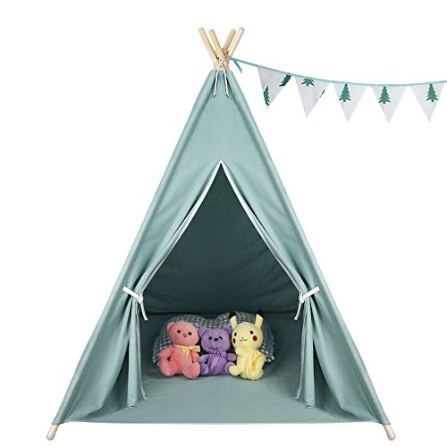 - Patroaint Foldable Children's Game Cotton Canvas Tent, Classic Indian Theater Tent Suitable for Indoor and Outdoor The Best Gift for Children (Mint Green)