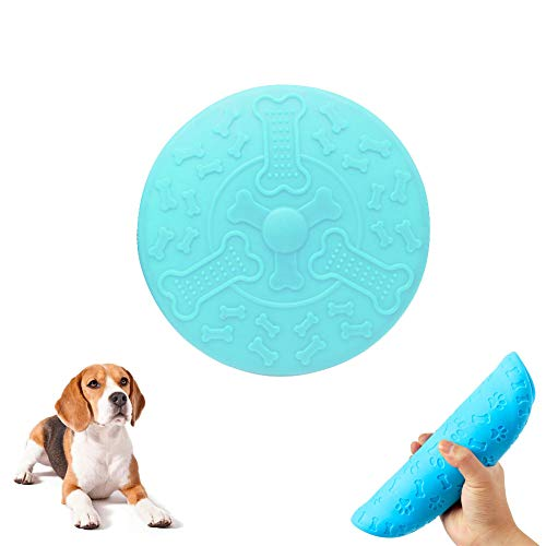 Luckfind Dog Frisbee Toy, Bite-Resistant 8.7 Inch Large-Sized Rubber Frisbee Game Toy for Dog Flying Disc Training Tools for Outdoor