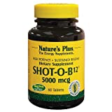 Natures Plus Shot-O-B12 (Methylcobalamin) – 5000 mcg, 60 Vegetarian Tablets, Sustained Release – High Potency Vitamin Supplement, Energy Booster, Memory Enhancer – Gluten Free – 60 Servings For Sale