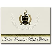 Signature Announcements Sevier County High School (Sevierville, TN) Graduation Announcements, Presidential style, Basic package of 25 with Gold & Black Metallic Foil seal