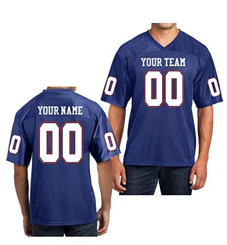 Custom Football Replica Team Jersey (Medium, Royal Blue - White & Orange Font) ()