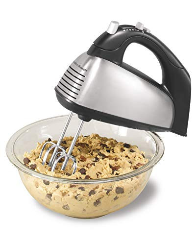 Hamilton Beach Classic 6-Speed Electric Hand Mixer with Snap-On Storage Case, Whisk, Traditional and Wire Beaters, Brushed Stainless 62650A