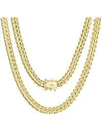 """Mens 14K Yellow Gold Solid 6mm Miami Cuban Chain Pendant Necklace, 20""""- 30"""""""
