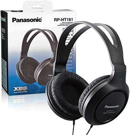 Panasonic Full-Sized, Lightweight Long-Cord Headphones – RP-HT161-Okay (Black)