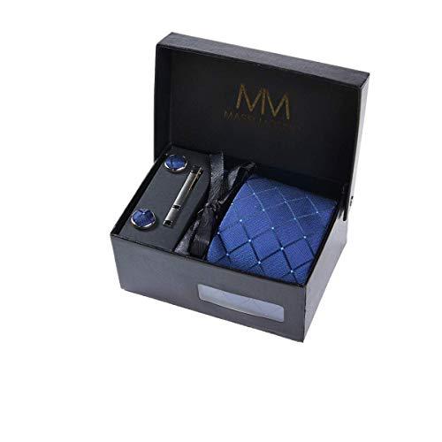 Men's Tie - Set in Gift Box (incl. Necktie, Clip, Handkerchief and Cufflinks) (Navy Blue Square)