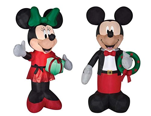 - Gemmy Inflatable Mickey and Minnie Christmas Yard Decorations, 6 Feet Tall, Self Inflatable with Energy Efficient LED