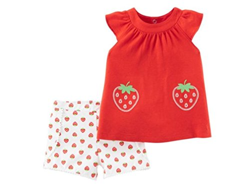 Carter's Baby Girls Child of Mine by 2 pc Strawberry Tank Top & Shorts Set 0-3 Months