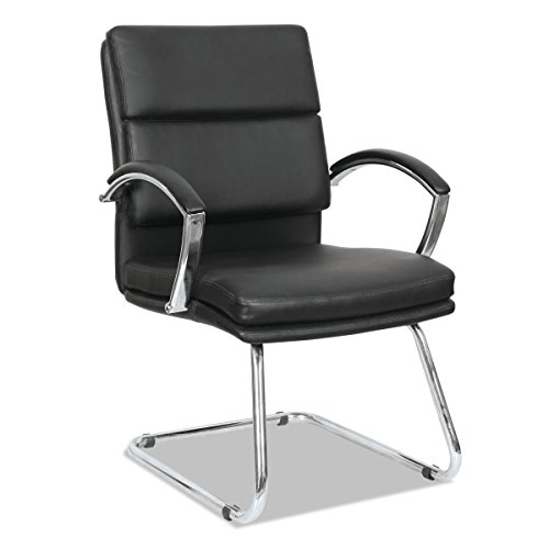 Alera NR4319 Neratoli Series Slim Profile Guest Chair, Black Soft Leather/Chrome Frame by Alera