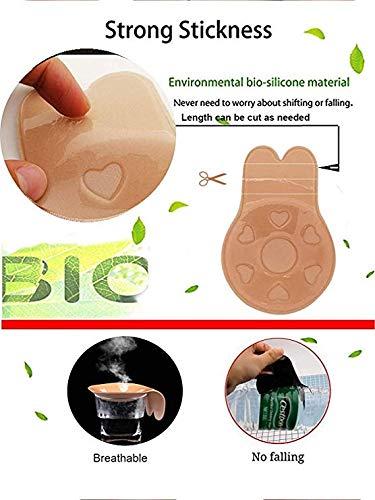 1 Paio Push Up Invisibile Reggiseno Senza Spalline,Copricapezzoli Adesivi Invisibili Reggiseno Push Up Nipple Donna Bra,Sollevare e Migliorare i Seni