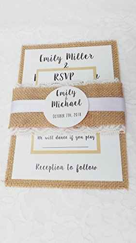 100 Wedding Invitations Rustic Country Style Burlap Lace Belly Band + Envelopes + Response Cards Set (Wedding Invitations Country Style)