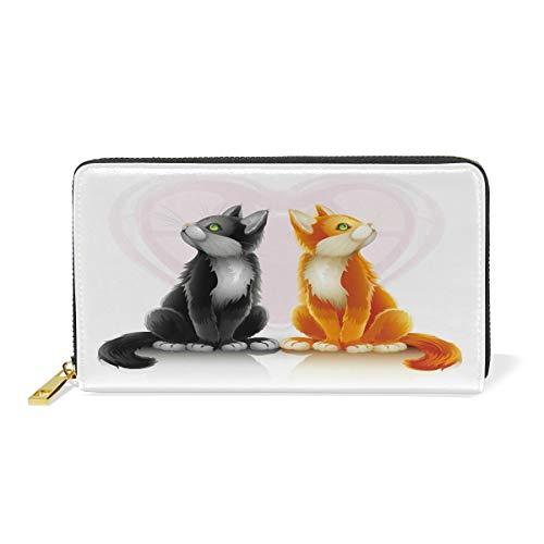 Women Genuine Leather Wallet Couples Cat Zipper Purse Girl Phone Clutch by LiKai