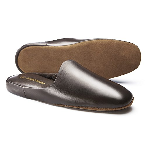 Leather Slippers Men's Windsor Handmade Churchill In Samuel Brown Brown Mule and Black Nappa wF6HXqOx0