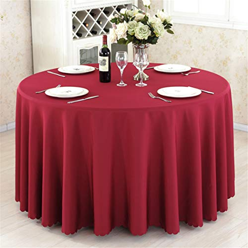 (Round Tablecloth Camping Solid Color Table Cloth White Table Linen Hotel Party Wedding Dining Coffee Table Cover Wine Red Round 300cm diameter)
