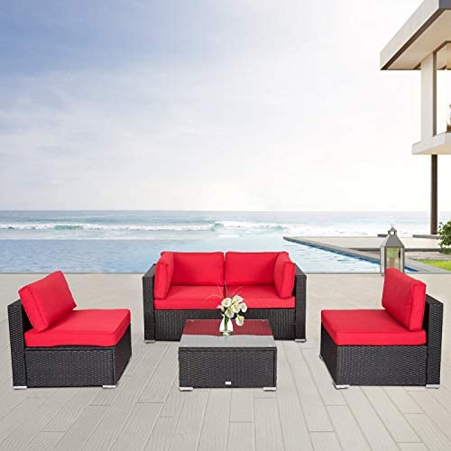Kinsunny 5 PCs Outdoor Patio Furniture Set Wicker Sofa Chairs Black Rattan Thick Cushion